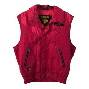 Descente hot pink insulated vest vintage coat